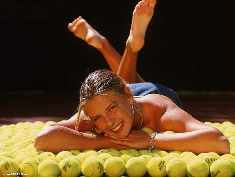 Maria Sharapova on Tennis Ball Photo Shoot