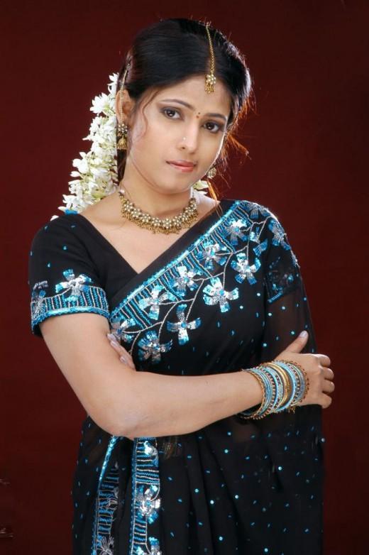 Saira Banu Black Gorgeous Saree Still