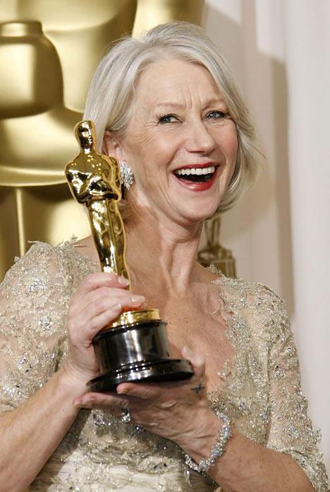 Dame Helen Mirren With Awards White Hair Still
