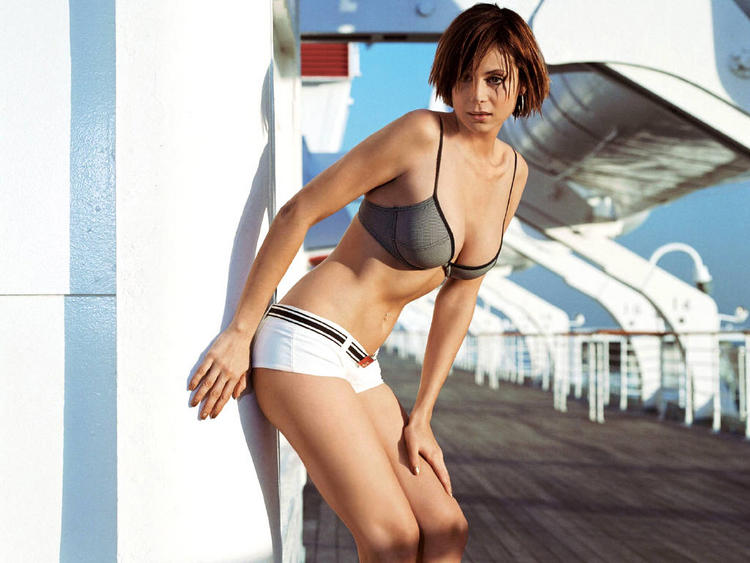 Catherine Bell Black and White Bikini Dress Images
