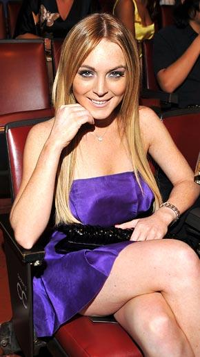 Lindsay Lohan Blue Color Dress Gorgeous Photo