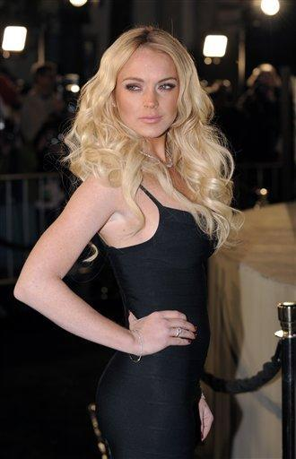 Lindsay Lohan White Hair and Black Dress Still