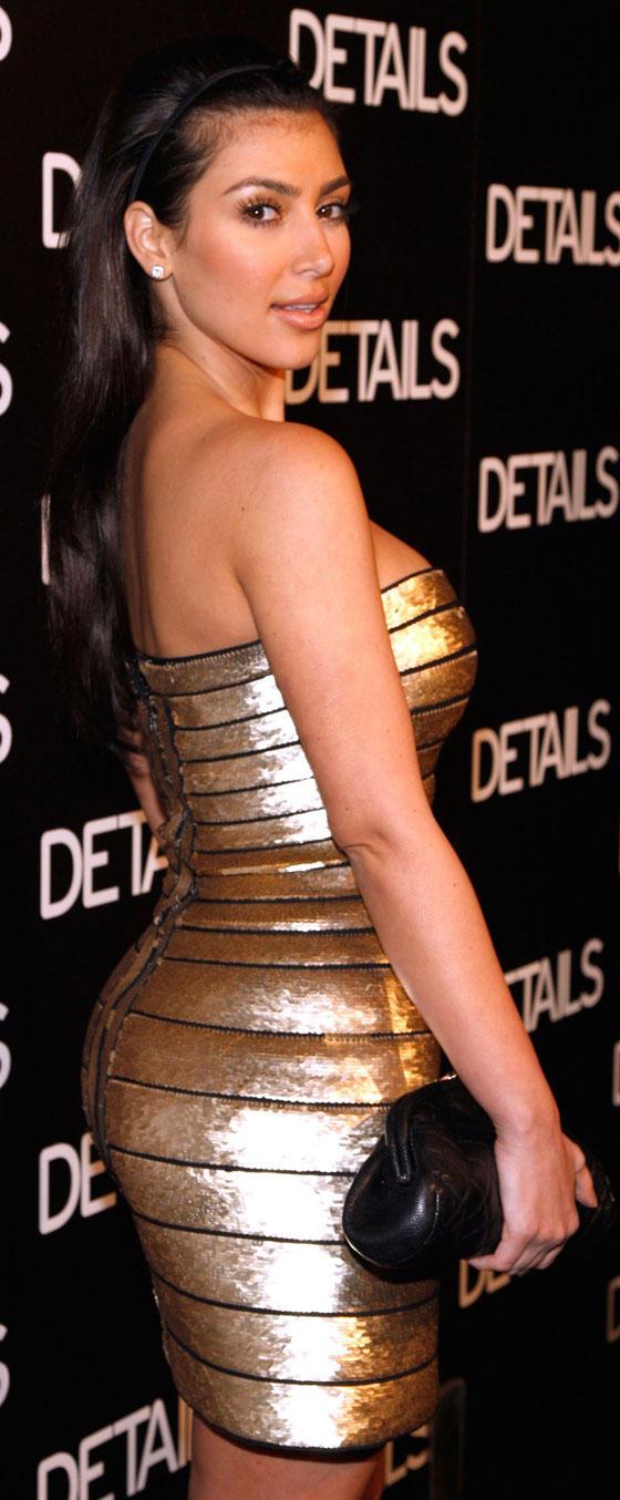 Kim Kardashian Gold Color Dress Pic