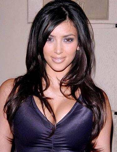 Kim Kardashian Blue Dress Glamour Photo
