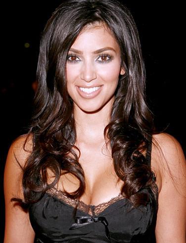 Kim Kardashian Black Dress Glazing Eyes Look