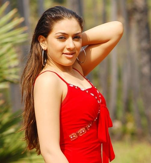 Hansika Motwani with red colour dress
