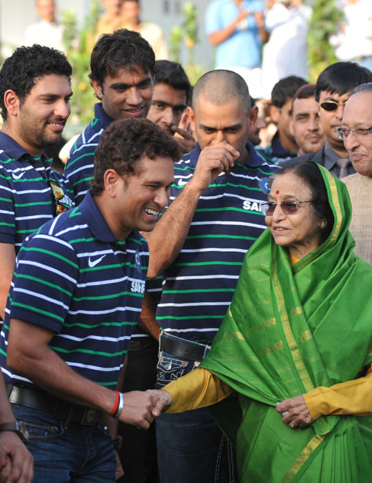 World Cup Sachin Tendulkar and President Pratibha Patil