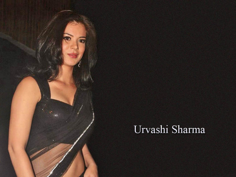 Urvashi Sharma Sexy Black Saree Beauty Face Wallpaper