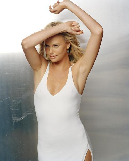 Charlize Theron in White Dress Photo Shoot
