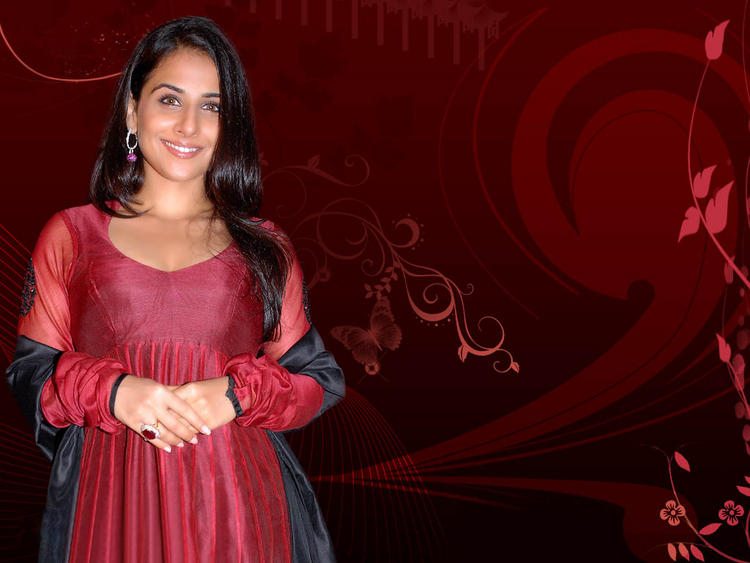 Vidya Balan Background Red Wallpaper