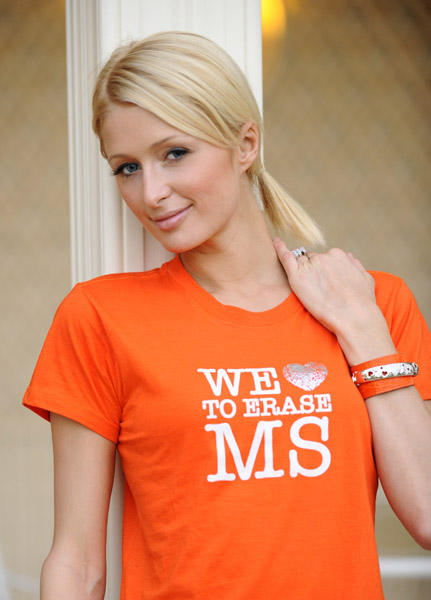 Paris Hilton Orange Color Dress Photo
