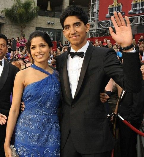 Dev Patel and Freida Pinto Blue Dress Public Still