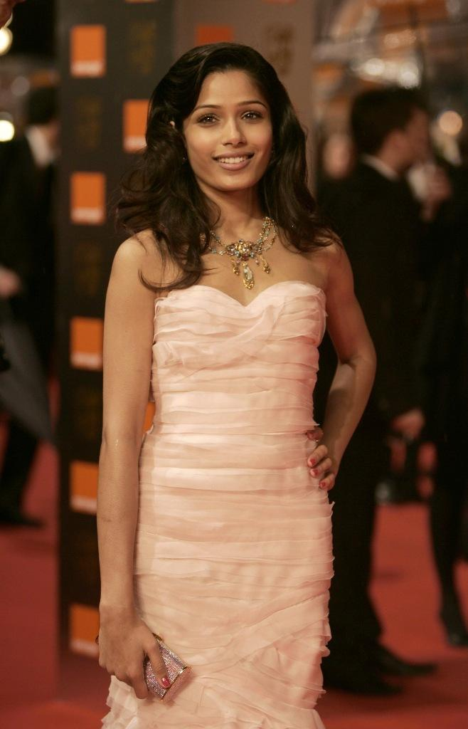 Freida Pinto in Pink Dress Sizzling Photo