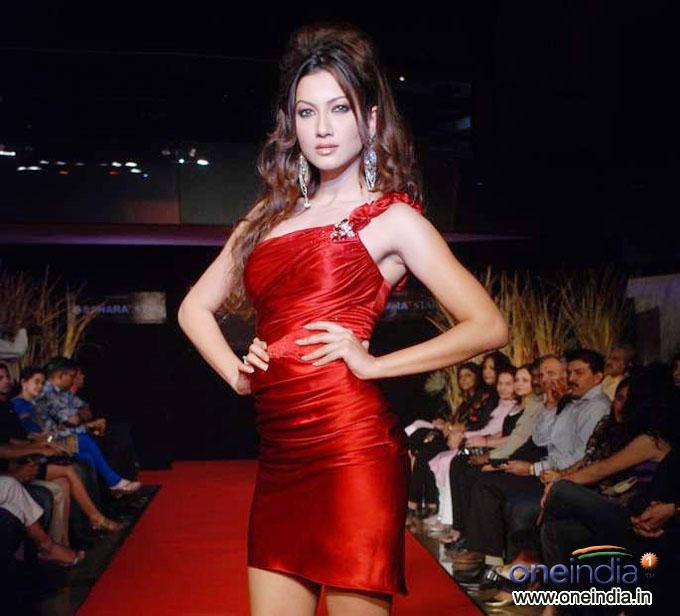 Hot Gauhar Khan Red Dress Awesome Photo