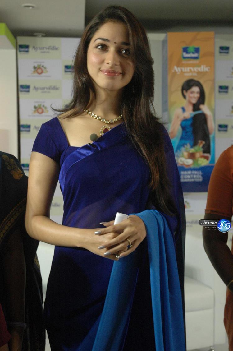 Tamanna Bhatia Blue Saree Awesome Images