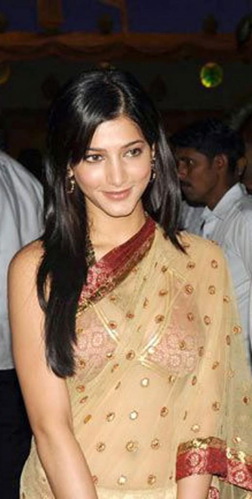 Shruti Hassan Transparent Saree Cute Still