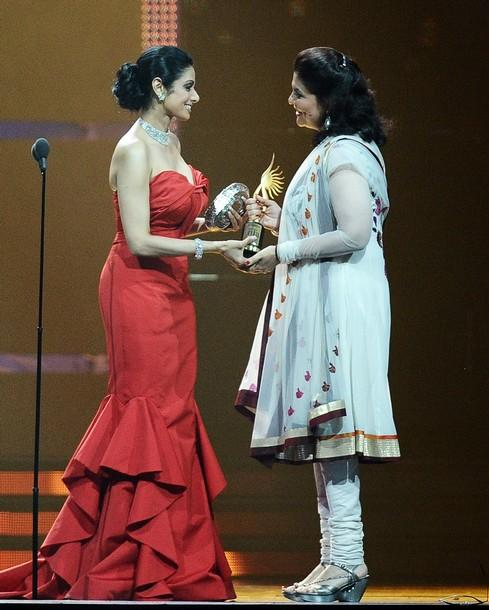 Sridevi Kapoor With Red Gown At IIFA