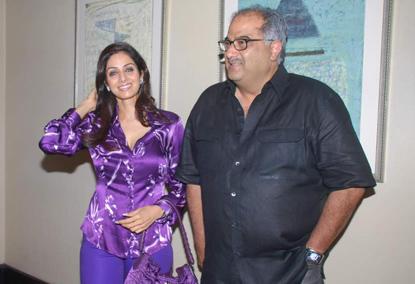 Sridevi Kapoor Blue Dress Hot Still With Boney Kapoor