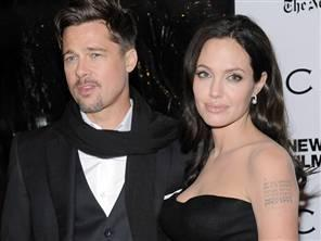 Angelina Jolie With Brad Pitt Black Dress Still