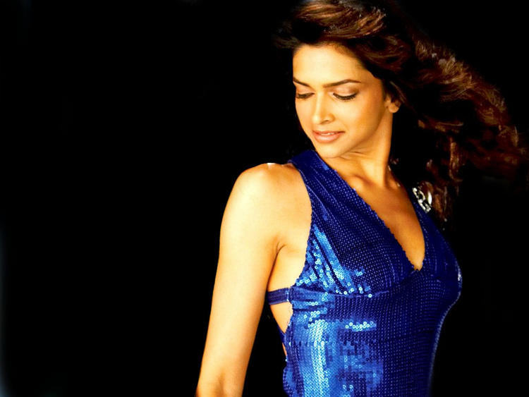 Deepika Padukone Blue Dress Glamourous Wallpaper