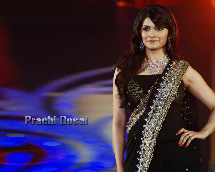 Prachi Desai Black Color Gorgeous Saree Wallpaper