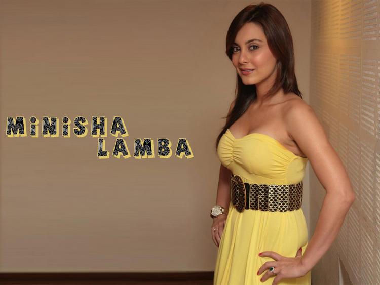 Minisha Lamba Yellow Color Dress Wallpaper