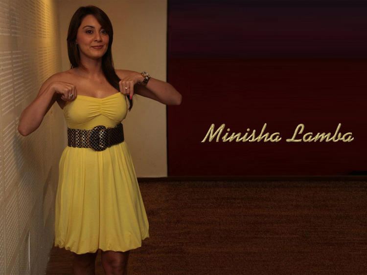 Minisha Lamba Cute Pose With Yellow Color Dress
