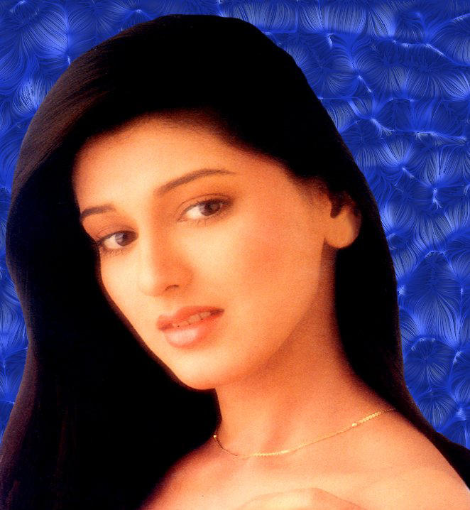 Sonali Bendre Background Blue Color Wallpaper