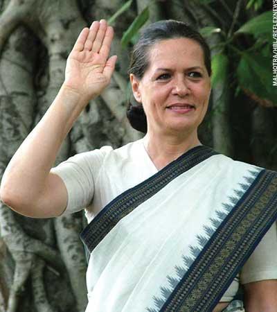 Congress President Sonia Gandhi White Saree Still