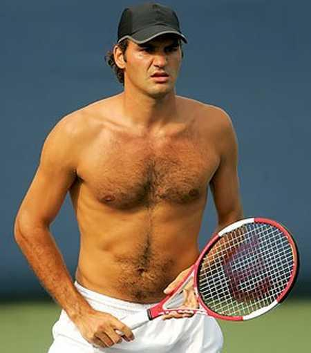 Roger Federer Shirtless Dress Play Still