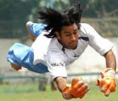 Mahendra Singh Dhoni Dives To Catch A Ball