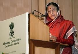 Pratibha Patil Red Saree Speaking Photo