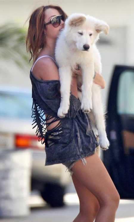Miley Cyrus With Dog Cute Still