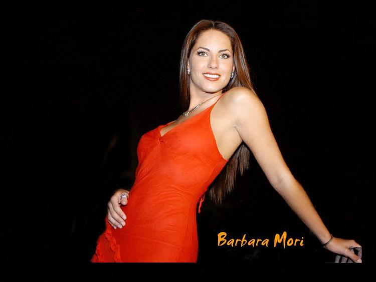 Barbara Mori Red Dress Spicy Pose Wallpaper