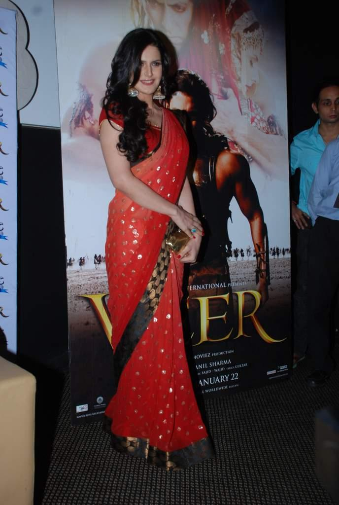 Zarine Khan Red Saree Beauty Still