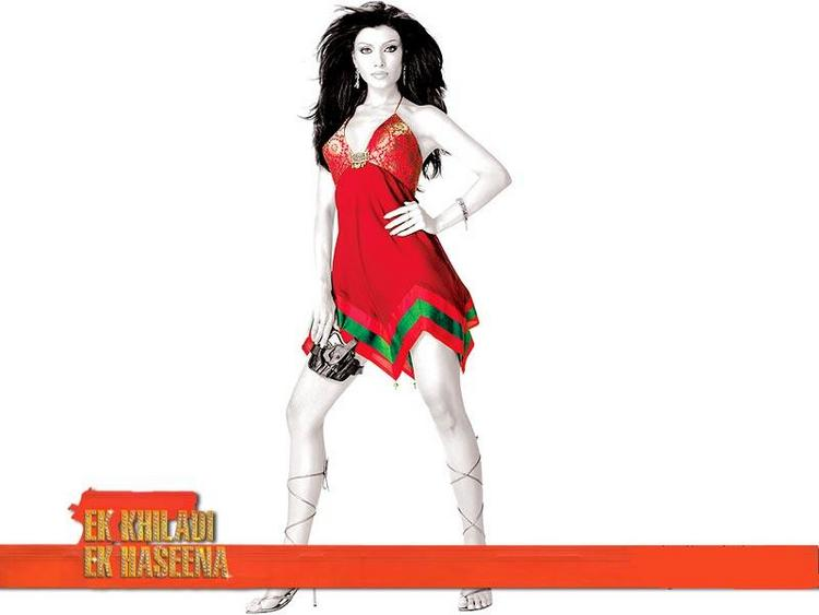 Koena Mitra Wallpaper With Red Mini Dress