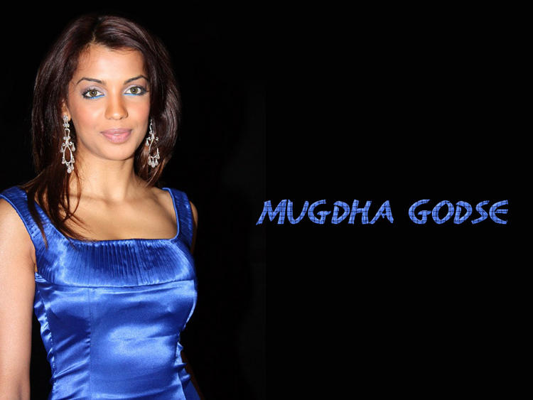 Mugdha Godse Blue Dress Gorgeous Wallpaper