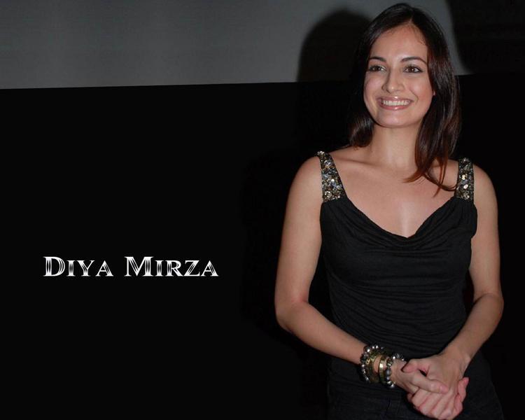 Diya Mirza Black Dress Cute Smile Wallpaper