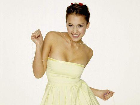 Jessica Alba Sleeveless Dress Cute Photo Shoot