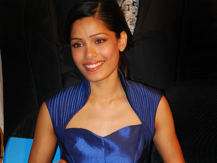 Freida Pinto Blue Dress Glamour Photo
