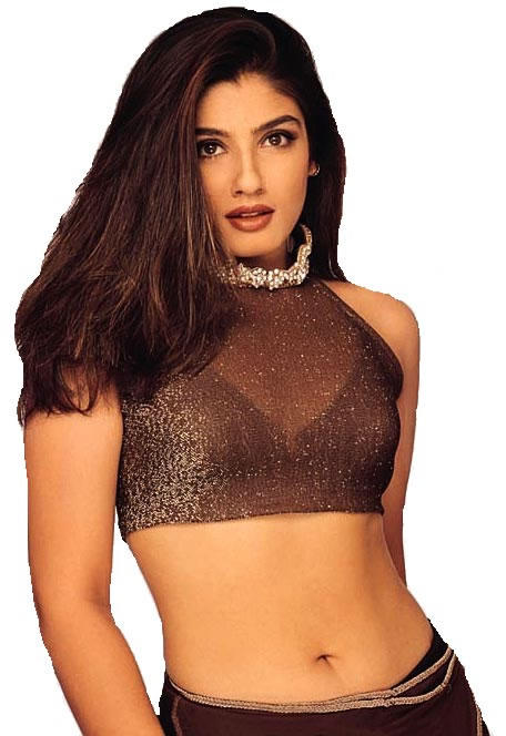 Raveena Tandon Hot Navel Exposing Wallpaper