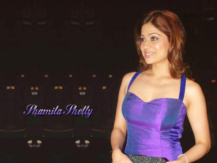 Shamita Shetty Blue Dress Gorgeous Wallpaper