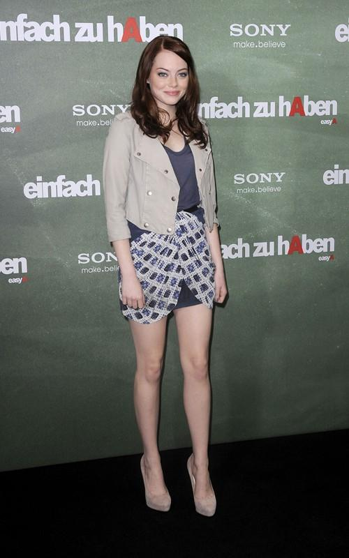 Emma Stone Mini Dress Still at the Easy A Photocall in Berlin