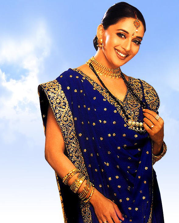Madhuri Dixit Blue Saree Gorgeous Wallpaper