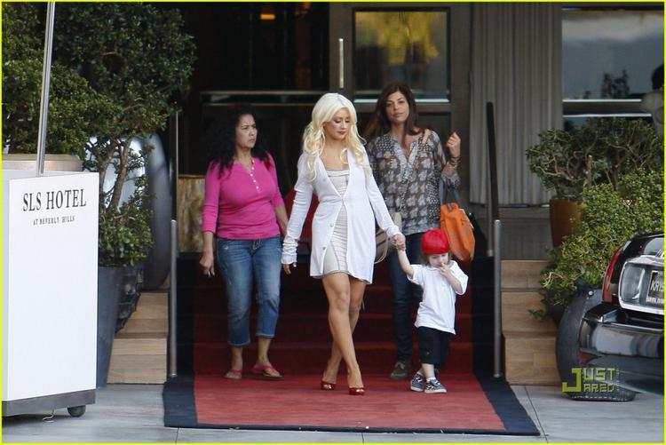 Christina Aguilera and Her Son Max SLS Hotel Photo