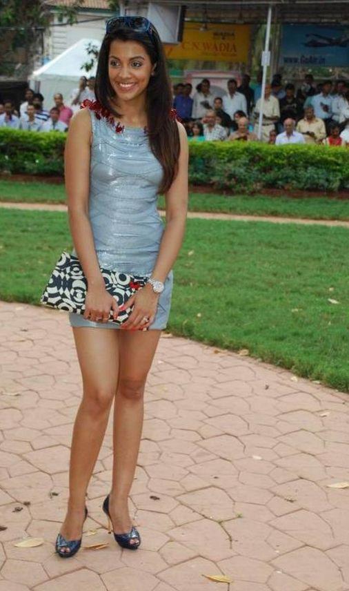 Hot Mugdha Godse Cute Mini Dress Pics at Gladrags CN Wadia Cup