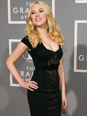 Scarlett Johansson Tight Black Color Dress Still