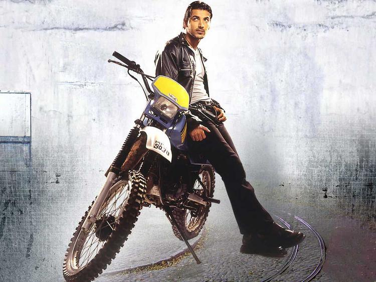 John Abraham with old bike posing hot in jacket