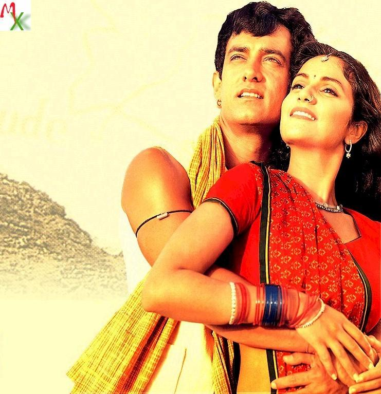Aamir and Gracy Singh romantic pics in Lagaan