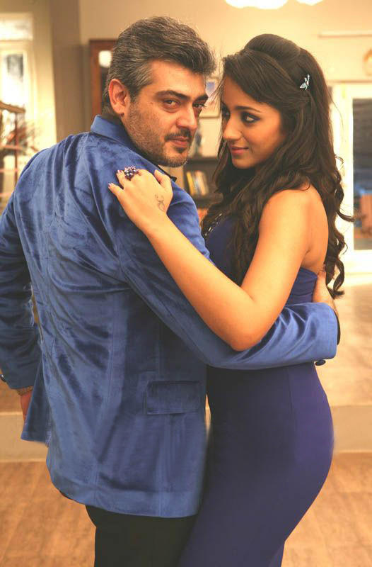 Ajith and trisha kiss stills in Mankatha